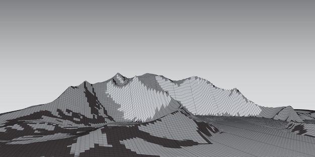Abstraktes modernes banner mit einem wireframe-landschaftsdesign