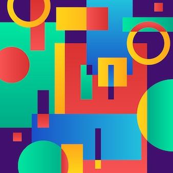 Abstraktes modernes blau mit geometrischen gegenständen