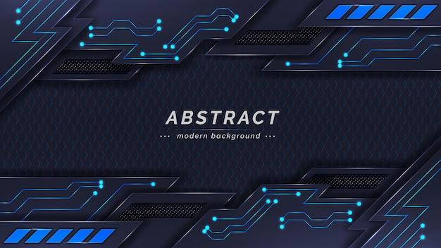 Abstraktes modernes dunkles thema mit blauem schaltungshintergrunddesign