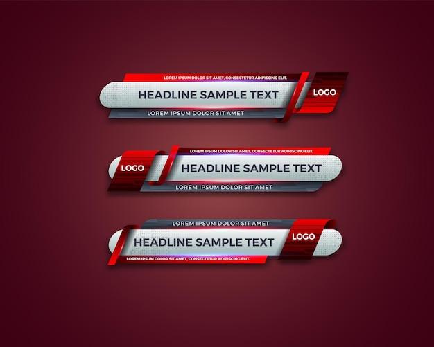 Abstraktes modernes geometrisches unteres drittes banner-schablonendesign für rundfunk, live, streaming, nachrichtenvideo, schnittstellenschablone.