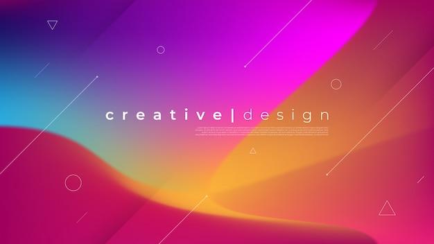 Abstraktes modernes grafisches element. dynamische farbige formen und wellenhintergrund