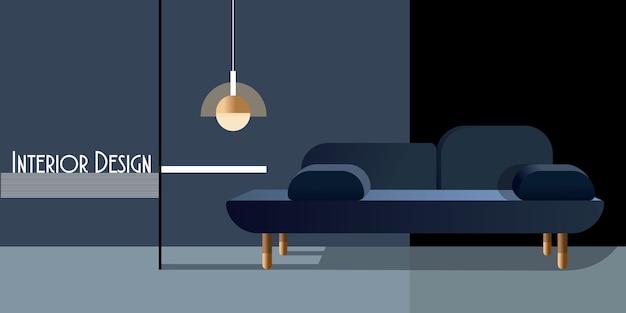Abstraktes modernes interieur in pastelltönen der klassischen blauen farbe.