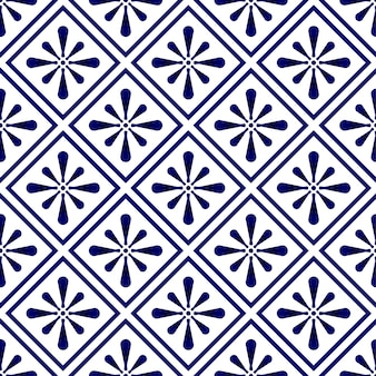 Abstraktes modernes muster blau und weiß, nahtloses blumen des porzellans, keramischer tapetendekor, indigoschablonendesign für druckbeschaffenheit und seide, weinlesefliese, tonwarendekorvektor
