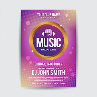 Abstraktes musikfestival plakat flyer vorlage