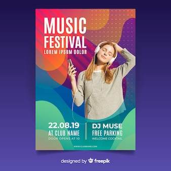 Abstraktes musikfestivalplakat mit foto