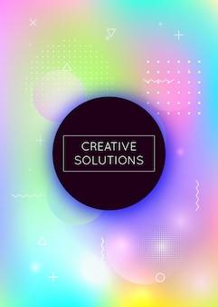 Abstraktes muster. leichte geschäftsvorlage. minimalistische form. memphis-flyer. bewegungspunkte. violetter glänzender hintergrund. retro-vektor. verlaufspräsentation. blaues abstraktes muster