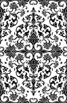 Abstraktes muster mit damast. schwarzweiss-schablone