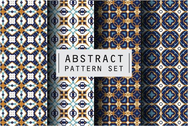 Abstraktes musterset mit batikmotivhintergrund
