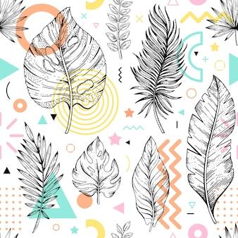 Abstraktes nahtloses design geometrisches und florales elementmuster