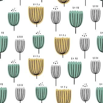 Abstraktes nahtloses mit blumenmuster. handgezeichnete, doodle-stil pflanzen für verpackungen, textilien und andere designs.