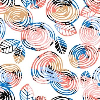 Abstraktes nahtloses mit blumenmuster mit rosen. trendy handgezeichnete texturen.