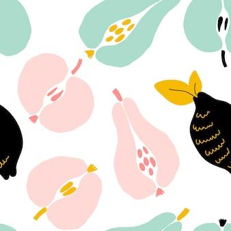 Abstraktes nahtloses modernes muster mit früchten und beeren. kreatives trendiges nahtloses muster. hand zeichnen textur. vektorvorlage für karten, banner, druckgewebe, t-shirt. pastellfarben.