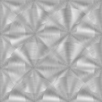 Abstraktes nahtloses muster aus glänzendem metall mit kreisförmiger gebürsteter textur in silbernen farben