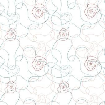 Abstraktes nahtloses muster der mohnblume im linie-kunsttrend