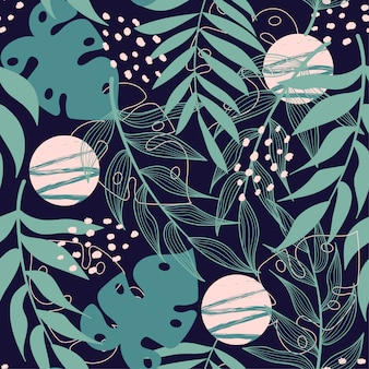 Abstraktes nahtloses muster der tendenz mit tropischen blättern
