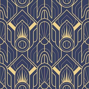 Abstraktes nahtloses muster des blauen art deco