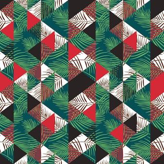 Abstraktes nahtloses muster des dreiecks mit kokosnussblatt