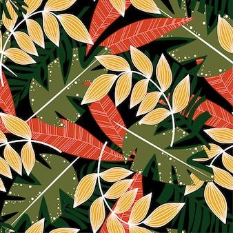 Abstraktes nahtloses muster des sommers mit bunten tropischen blättern und anlagen