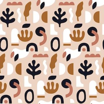 Abstraktes nahtloses Muster. Hand gezeichnete Formen und Gekritzelobjekte.