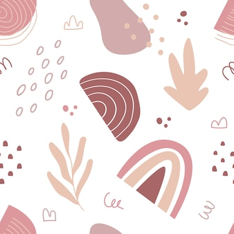 Abstraktes nahtloses muster im trendigen stil mit botanischen und geometrischen elementen, texturen. natürlich