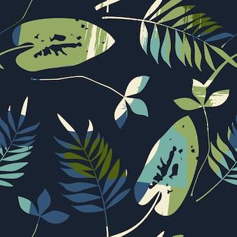 Abstraktes nahtloses muster mit blättern. hintergrund für verschiedene oberflächen. trendige handgezeichnete texturen.