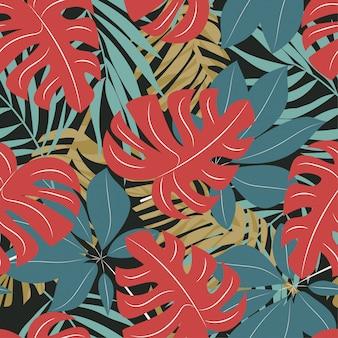 Abstraktes nahtloses muster mit bunten tropischen blättern und anlagen auf dunklem hintergrund
