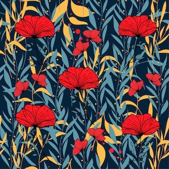 Abstraktes nahtloses muster mit bunten tropischen blättern und blumen auf blau