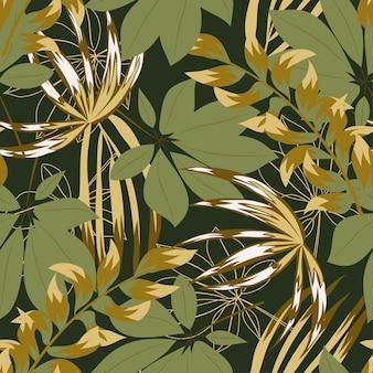 Abstraktes nahtloses muster mit bunten tropischen blättern und blumen auf gree