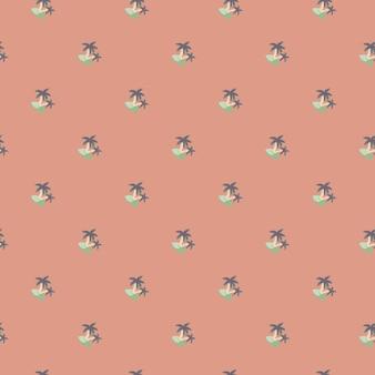 Abstraktes nahtloses muster mit dekorativem kleinem blauem insel- und baumpalmendruck. rosa pastellhintergrund. entworfen für stoffdesign, textildruck, verpackung, abdeckung. vektor-illustration.