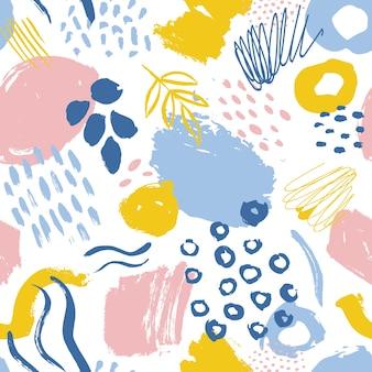 Abstraktes nahtloses muster mit farbigen farbflecken, spuren und tropfen