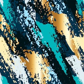 Abstraktes nahtloses muster mit goldenem pinsel