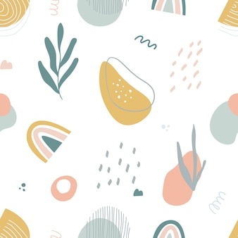 Abstraktes nahtloses muster mit handgezeichneten botanischen und geometrischen formen. pastellfarben