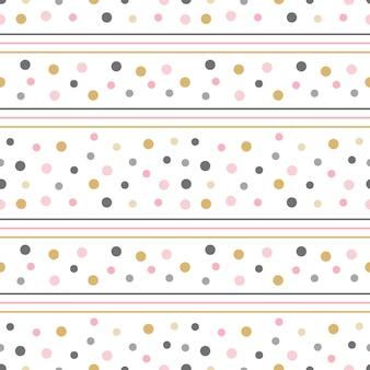 Abstraktes nahtloses muster mit linien und punkten süßer druck mit goldrosa und grauer farbe