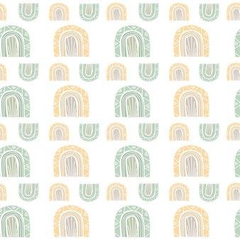 Abstraktes nahtloses muster mit modernem druck mit regenbogen im erdigen pastellton boho-stil