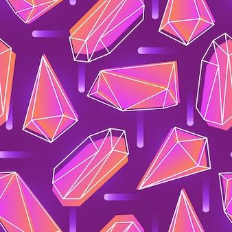 Abstraktes nahtloses muster mit neonfarbenen kristallen, mineralien oder facettierten steinen und ihren umrissen auf purpur