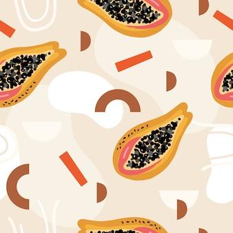 Abstraktes nahtloses muster mit papaya.