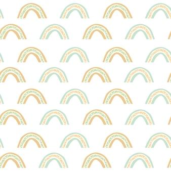 Abstraktes nahtloses muster mit regenbogen im erdigen pastellton boho-stil