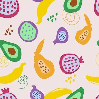 Abstraktes nahtloses muster mit tropischen früchten der einfachen form