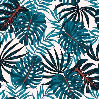 Abstraktes nahtloses muster mit tropischen pflanzen und blättern