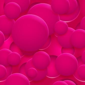Abstraktes nahtloses muster oder hintergrund von löchern und kreisen mit schatten in rosa farben