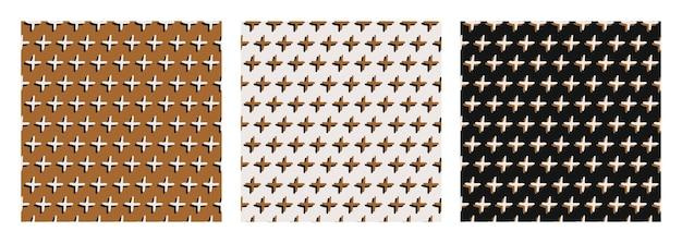 Abstraktes nahtloses muster von doodle 3d-kreuzen auf senfschwarzem und hellem hintergrund