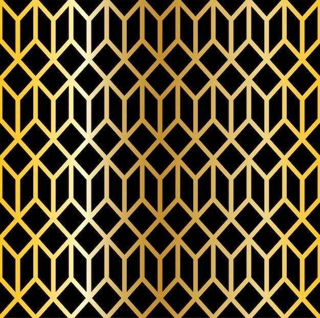 Abstraktes nahtloses musterlinienschwarzes und goldhintergrund. design muster art deco stil.