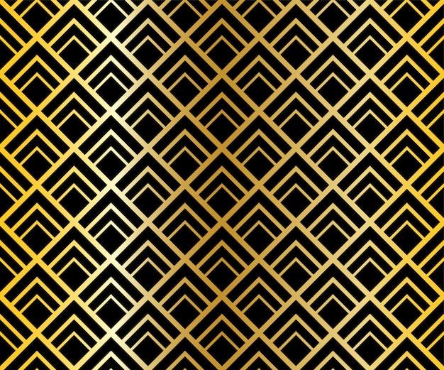 Abstraktes nahtloses musterlinienschwarzes und goldhintergrund.