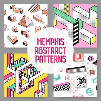 Abstraktes nahtloses musterset im memphis-stil. hipster fashion 80er 90er jahre hintergründe mit geometrischen elementen.