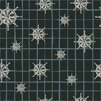 Abstraktes nahtloses nautisches muster mit gelegentlicher schiffsruderverzierung. schwarzer hintergrund mit scheck.