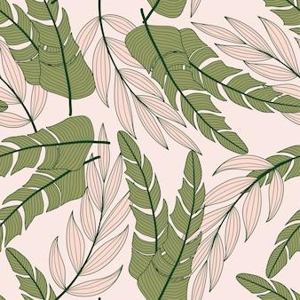 Abstraktes nahtloses tropisches muster mit bunten pflanzen und blättern auf einem pastellfarbenen hintergrund