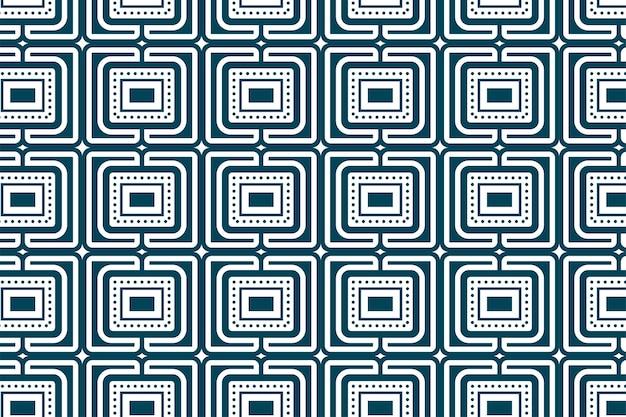 Abstraktes nahtloses vektorgeometrisches muster die elementmuster sind quadratischer sternkreis und rechteck verwenden flache blaue pastellfarbe einzeln in weißem hintergrund