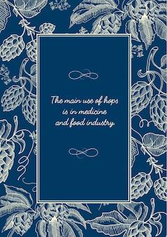 Abstraktes natürliches skizzenplakat mit inschrift im rahmen und in den kräuterhopfenzweigen auf blau