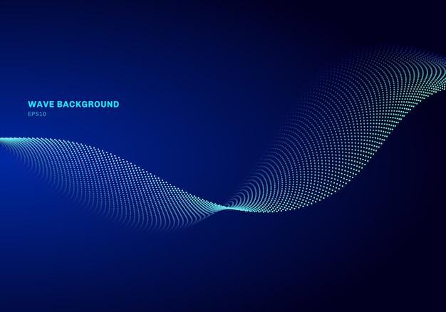 Abstraktes netzdesign mit hellblauer welle des partikels