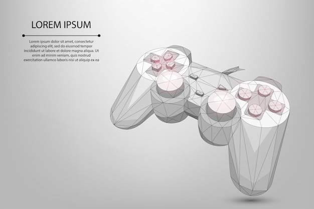 Abstraktes netzlinien- und punkt-gamepad für videospiele. niedriger poly-joystick